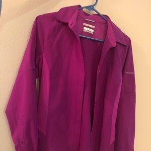 Columbia fuchsia long sleeve omni-shade shirt